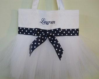 Dance bag, tutu ballet bag, tutu dance bag,Tutu Tote bag, Embroidered Tote Bag, Ballet tote bag, White Tote Bag, Tutu Tote Bag - TB167 BP