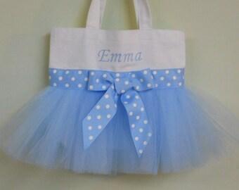 Ballet bag, dance bag, Child's Tutu Bag, Embroidered tote bag, Tutu dance bag, Tutu ballet bag, Naptime 21, MINI Tutu Tote Bag - MTB223 F