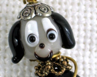 Lampwork Glass Vintage Necklace Puppy Dog Heart Costume Jewelry