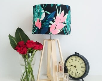 Neon Tropical Wooden Table Lamp