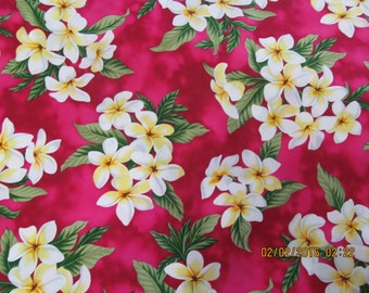 Hawaiian Quilting Fabric Deep Rose with Plumeria Clusters from Marianne of Maui