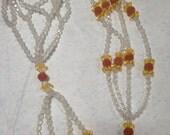 Vintage Plastic Handmade Beaded Plant Hanger Crystal Clear Orange Gold