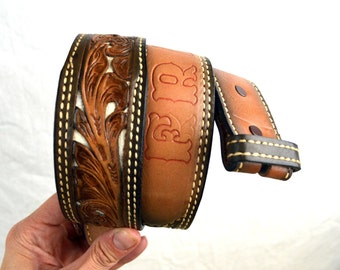 Fran's Vintage Western Floral Personalized Tooled Leather Belt