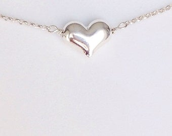 Puffed Heart Charm Necklace - Sterling Silver - Weddings | Bridesmaids | Thank You Gifts