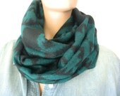 Blanket cowl infinity scarf-Teal-black-Tribal-rustic Reversible unisex tribal winter cowl with fringes-Teal green and black