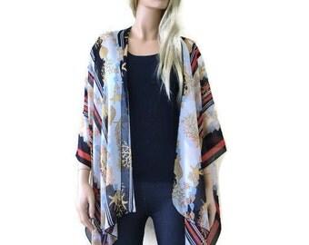 Nautical Kimono/ Kimono cardigan-Shells-Sea stars -white,Gold,Black and Red-Silky Italian chiffon Ruana -Summer collection-Layering piece