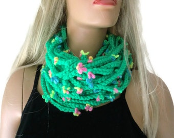 Spring green,apple green infinity scarf cowl,Unisex  crochet cowl,  green chain scarf  best friend gift, Bridesmaids gift - any quantity