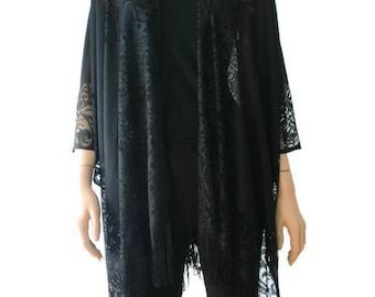 Black lace Boho  Kimono cardigan-Oversize kimono