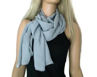 Solid gray chiffon scarf Long chiffon scarf-Solid  gray chiffon scarves-Parisian Neck Tissu