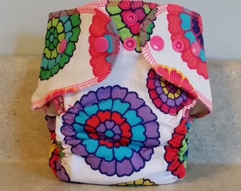 Fitted Preemie Newborn Cloth Diaper- 4 to 9 pounds- Bold Floral- 16028