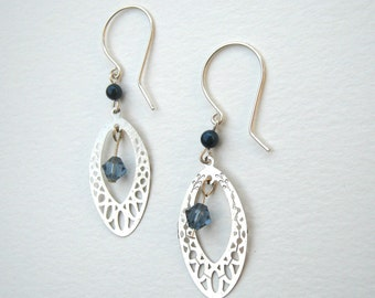 Lace Dangle Earrings, Blue and Silver, Silver Lace Dangles, Denim and Silver, Elegant Silver Earrings, Pearl and Crystal