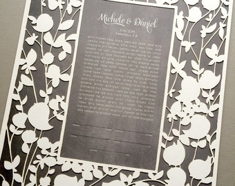 Ketubah Papercut - Modern Ketubah Print with papercut layer, papercut ketubah - BELOVED GARDEN