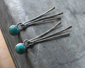 On the Fringe, Arizona Turquoise, MADE TO ORDER Sterling Silver long dangle earrings