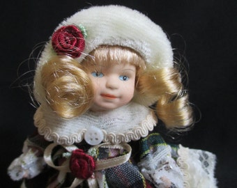 Vintage Doll, Small Porcelain Doll in Winter Attire, Plaid Dress, Blue Eyes, Blond Hair, Holiday Doll