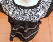 L/XL White and Black Two Birds de Paz hand woven and hand embroidered blouse