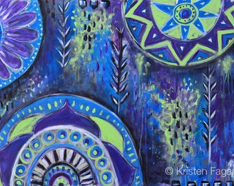 Abstract Mandalas II // Original Abstract Modern Tribal Acrylic Painting - 24 x 36