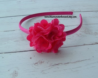 Petite Megan Bright Pink Satin Lined Headband Baby Toddler Girl
