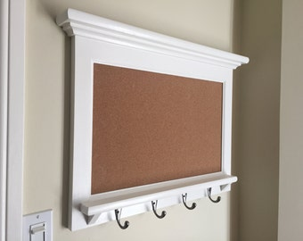 Wall mail organizer furniture wood framed cork bulletin board for Cork board with hooks