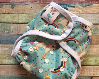 Rainbows and Unicorns Poly PUL Cloth Diaper Cover With Aplix Hook&Loop Or Snaps You Pick Size XS/Newborn, Small, Medium, Large, or One Size