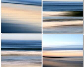 Abstract Seascape, Blue Water, Beach Decor, Modern Decor, Sunrise, 8X10 mats, Set of 4