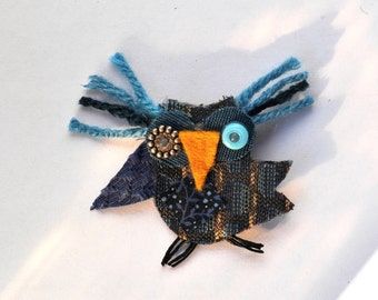 Blue Bell the Owl Pin, Recycled Fabric, Bird, Brooch, Woodland, Whimsical
