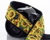 Sunflower Camera Strap, Birds, dSLR, Yellow, Flower, SLR, Pocket, Camera Neck Strap, 151 w