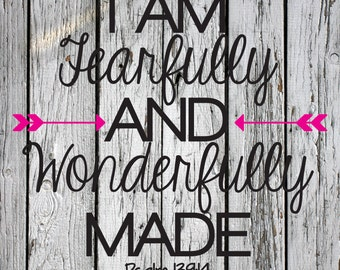 SVG, PNG, DXF Cut File, Fearfully and Wonderfully Made, Silhouette Cut File, Cricut Cut File, Scripture, Bible Verse, Psalm 139:14
