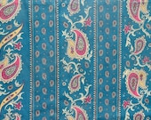 Vintage curtains/fabric/paisley print/green/red/gold/pair of curtains/long drapes/drapery/vintage material/home decor/window treatments/90s