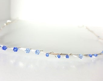 Twisted Silver Crown with Blue Crystals - Simple Silver Tiara with Blue Sparkle for Wedding or costume