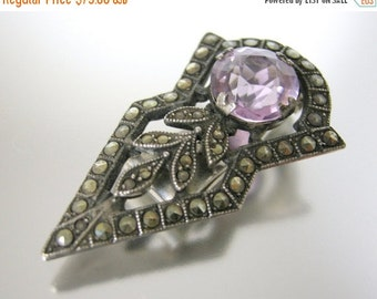 Love Yourself Sale Sterling Silver and Marcasite Dress Clip with Purple Glass