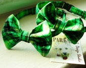 Green Plaid Bow Tie Collar For Cats