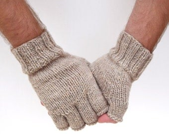 Knit fingerless gloves for men 100% merino wool natural handmade Christmas gift winter gloves gift for him