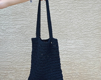 Black crochet tote cotton reusable bag stylish shopping bag beach tote boho bohemian