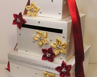 Wedding Card Box Ivory ,Red/Scarlet and Gold Gift Card Box Money Box Holder-Customize your color
