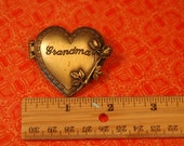 Vintage Signed JJ Jonette Jewelry GRANDMA heart locket Brooch Pin