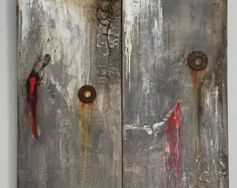 Urbal Art, Wall Decor, Industrial Abstract,  Urban Wall Art, Dyptich