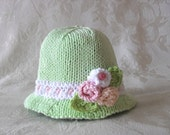 Baby Hats Knitting Knit Baby Hat Knitted Baby hats Knit Baby Hats Cotton Knitted Baby Rose Bonnet Hand Knitted Baby Clothing Easter Bonnet
