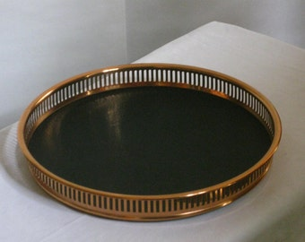 Vintage 1970s Coppercraft Copper Gallery Tray, Pierced Sides, Faux Black Leather, Faux Wood Mid Century Modern Barware Serving Tray