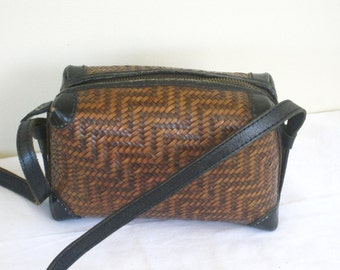 Vintage Woven Cross Body Bag, 1980s Banana Republic Leather Handbag, Small Box Purse, Long Adjustable Shoulder Strap