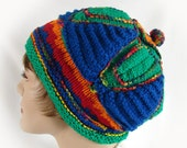 Woman's Colorful Knit Hat Women's Knit Hat Blue Green Red Orange Hat Women's Bright Colors Winter Hat Colorful Winter Knit Hat Girl's Hat