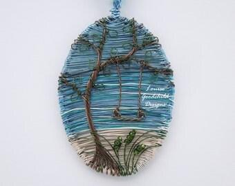 Tree swing pendant, ocean scene pendant, tree by the sea, swing pendant, art jewelry, wire art pendant, tree of life, ocean jewelry, seaside