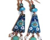 Long Enamel Lampwork Dangle Earrings Boho