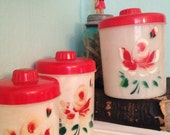 Vintage Popeil brothers plastic or lucite 3 piece canister set red roses