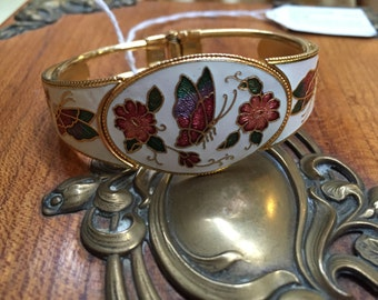 Vintage Cloisonné Clamper Bracelet with Floral and Butterfly Motif