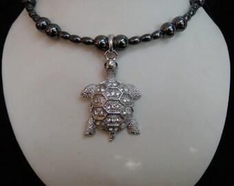 Rhinestone Turtle Magnetic Hematite Memory Wire Choker Necklace
