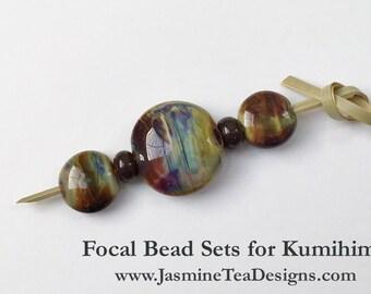 Rich Earth Tones Artisan Lamp Work Focal Grouping For Kumihimo Design, Large Hole Beads For Kumihimo