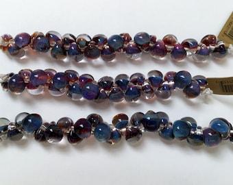 Evening Sky Unicorne Beads Boro Teardrops, Used in Midnight Shade Gables Beaded Kumihimo Necklace, 25 Beads per Strand, Teardrop Beads,