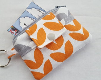 Zipper Wallet Pouch Key Pineapple Orange Gray Card holder -