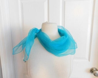 Vintage 50s 60s Turquoise Blue Triple Sheer Neck Scarf - Pinup - Glam