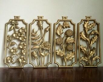 Vintage Sexton 4 Seasons Gold Wall Hanging.